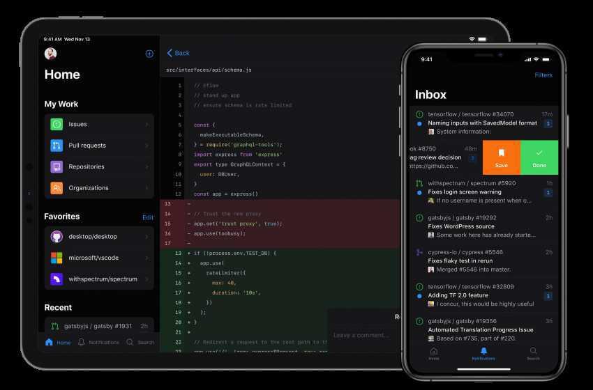 GitHub Mobile App for Users to Check Code